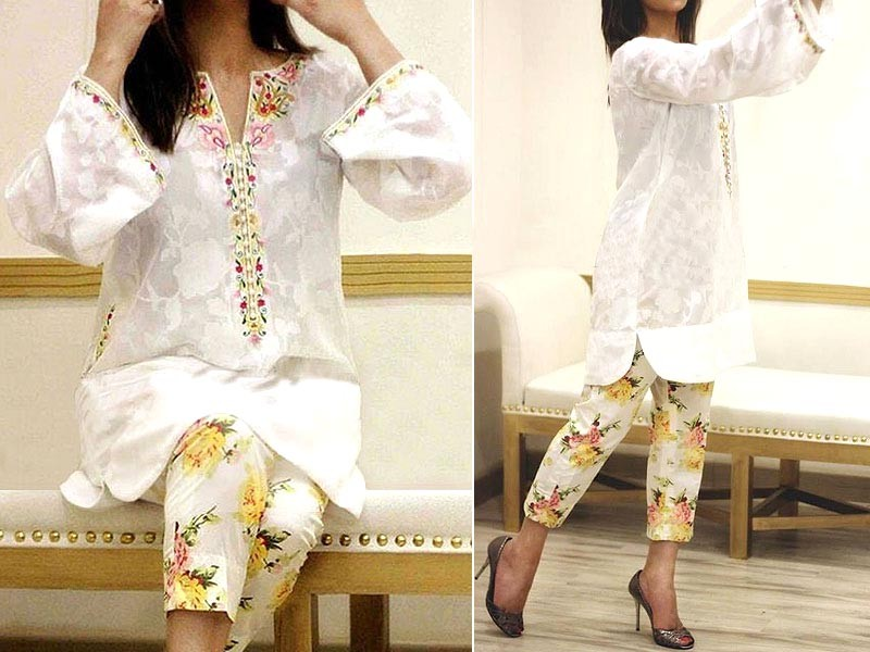 2-Pcs Scroll Embroidered Lawn Dress with Embroidered Trouser Price in Pakistan