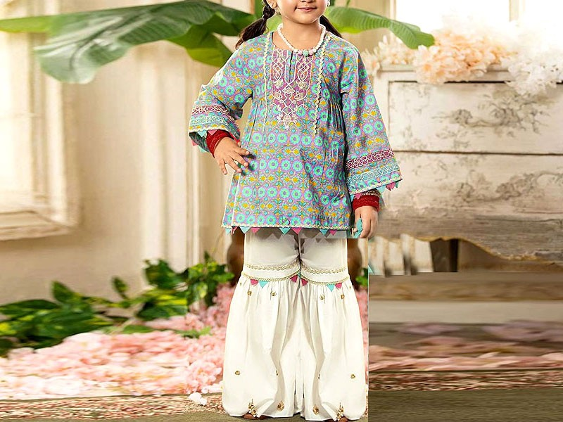 Kids 2-Pcs Embroidered Lawn Dress 2020