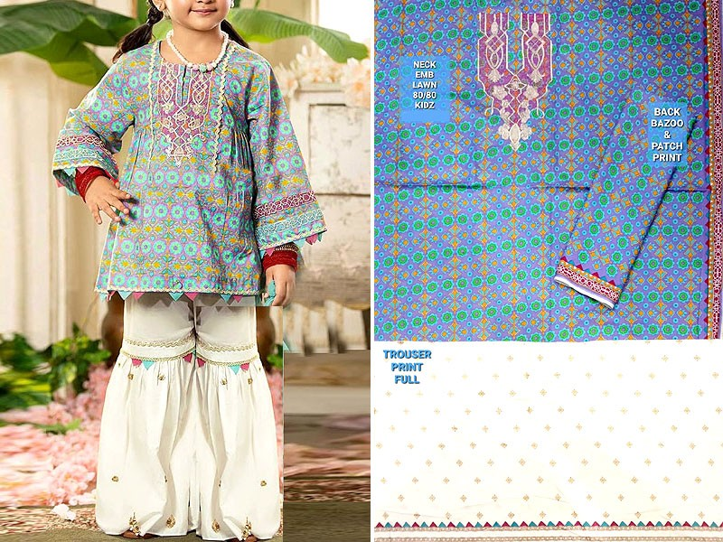 Kids 2-Pcs Embroidered Lawn Dress