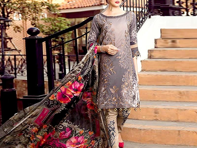 Luxury Embroidered Lawn Dress with Lawn Dupatta Price in Pakistan