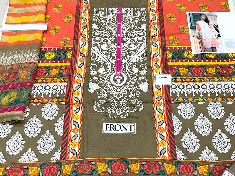 Embroidered Lawn Dress with Chiffon Dupatta