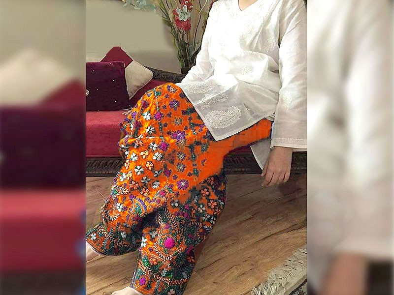 2-Pcs Embroidered Cotton Lawn Dress with Orange Phulkari Embroidered Trouser Price in Pakistan