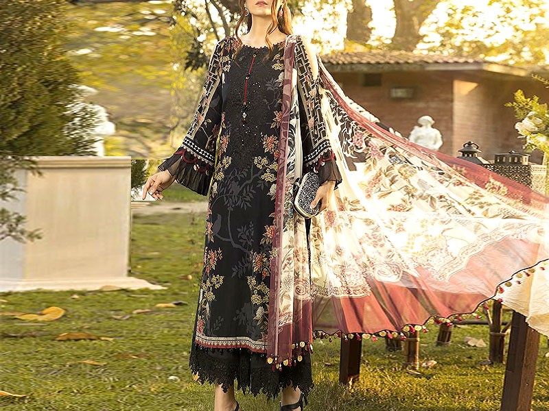 Designer Embroidered Black Lawn Dress 2020 with Chiffon Dupatta Price in Pakistan