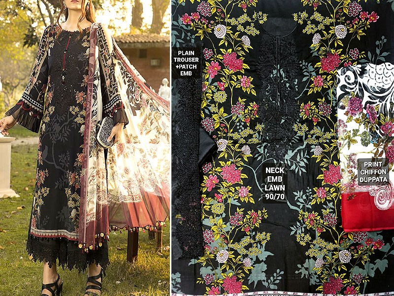 Designer Embroidered Black Lawn Dress 2020 with Chiffon Dupatta