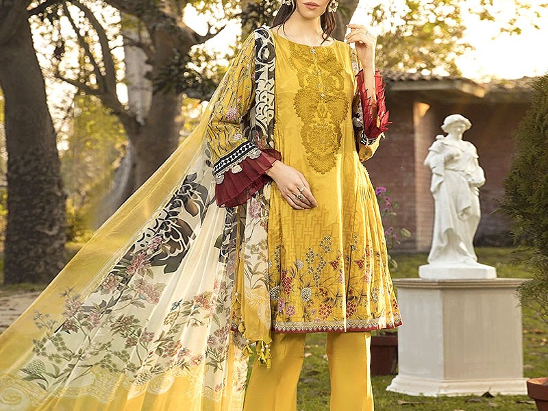 Designer Embroidered Yellow Lawn Dress 2020 with Chiffon Dupatta Price in Pakistan