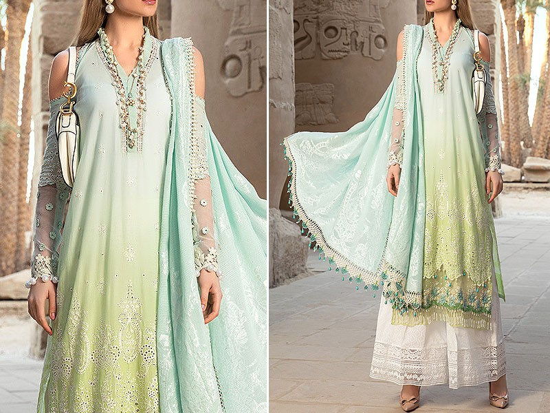 Luxury Schiffli Embroidered Lawn Dress with Chiffon Dupatta Price in Pakistan