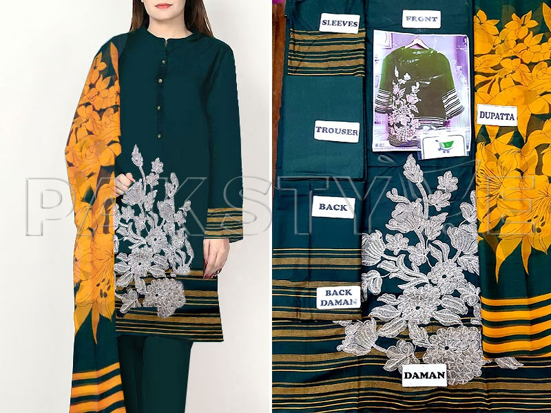 Heavy Embroidered Green Lawn Dress with Chiffon Dupatta
