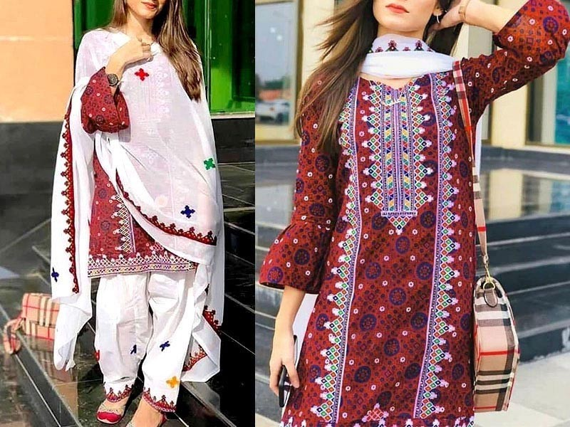 Traditional Neck Embroidered Lawn Dress with Chiffon Dupatta Price in Pakistan