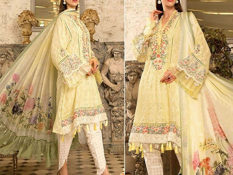 Embroidered Masoori Lawn Dress with Chiffon Dupatta
