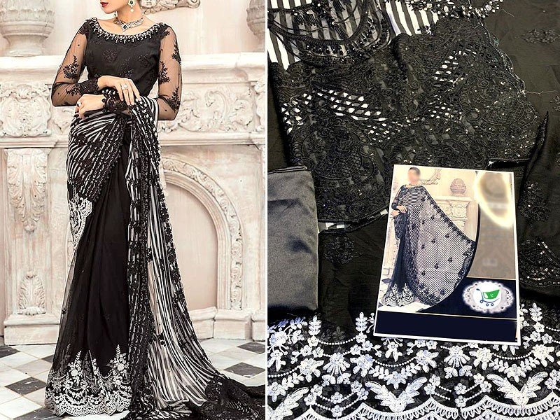 Handwork Heavy Embroidered Black Chiffon Saree with Inner