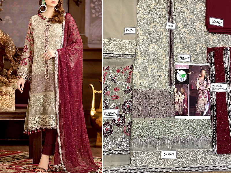 Luxury Embroidered Chiffon Wedding Dress with Four Side Embroidered Dupatta