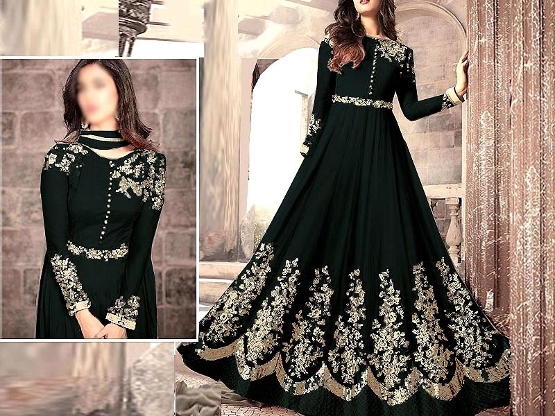 Indian Embroidered Black Chiffon Maxi Dress Price in Pakistan