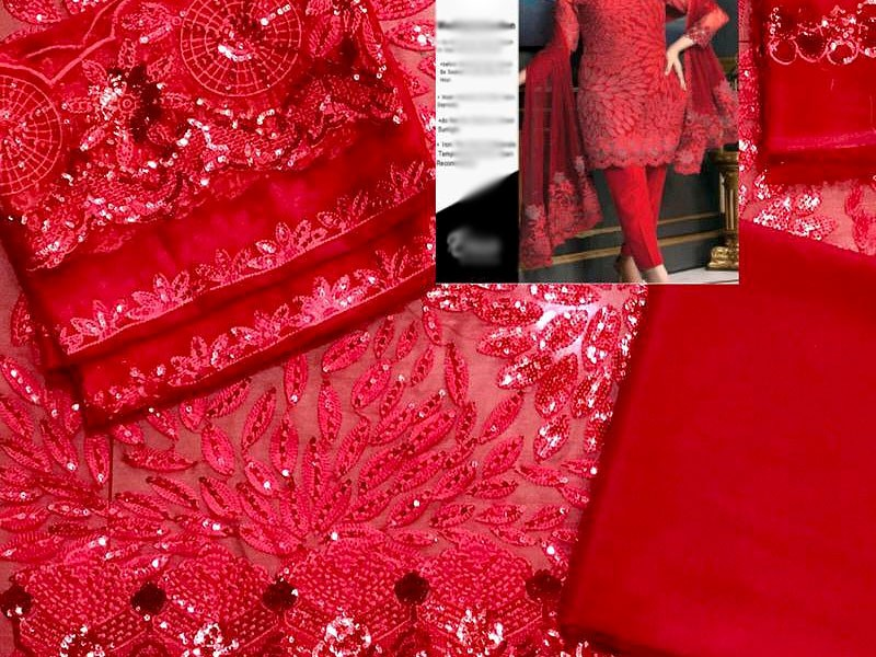 Heavy Embroidered Red Chiffon Wedding Dress