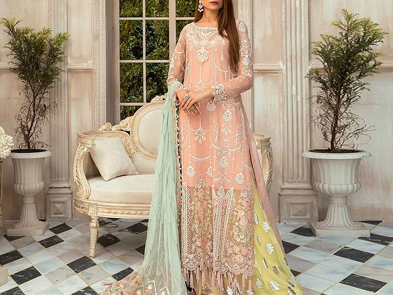 Heavy Embroidered Organza Dress with Net Dupatta Price in Pakistan