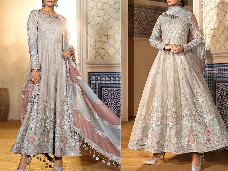 Heavy Embroidered Net Maxi Dress with Jamawar Trouser
