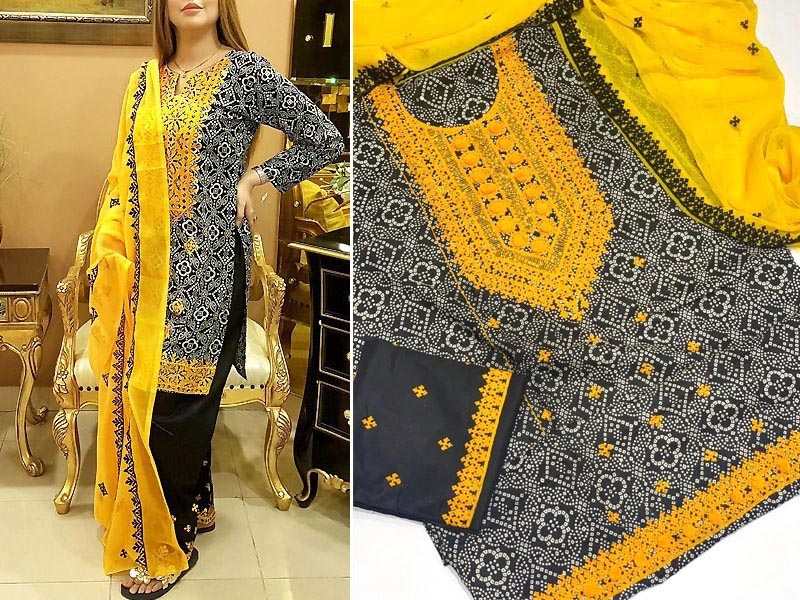 Traditional Embroidered Cotton Lawn Dress with Embroidered Chiffon Dupatta