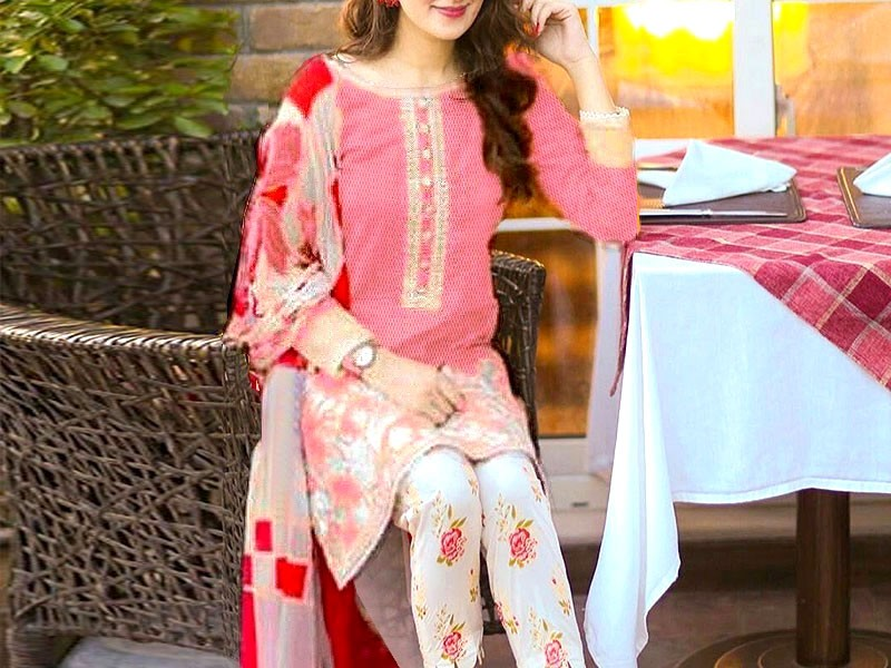 Elegant Embroidered Linen Dress with Wool Shawl Dupatta