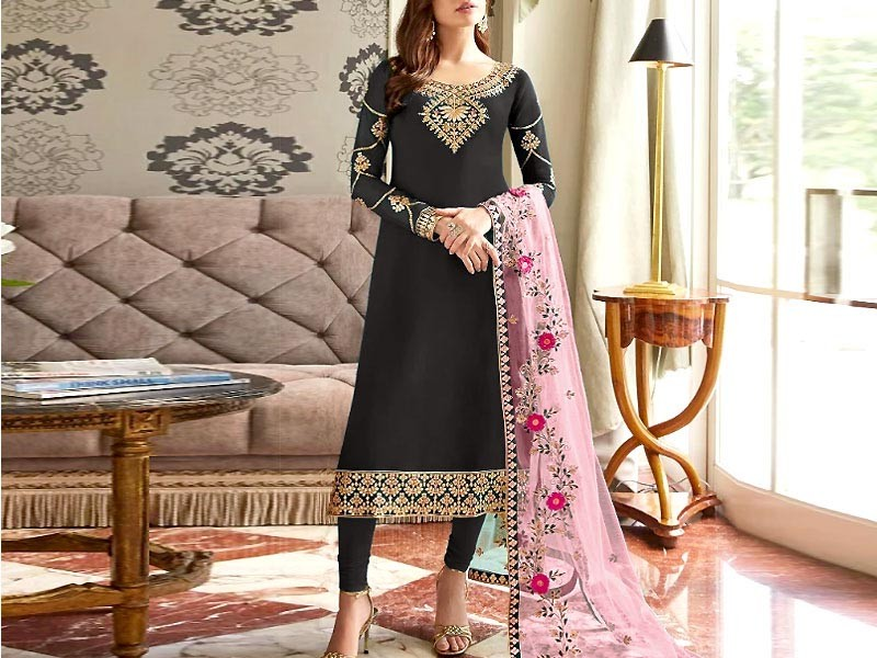 Mirror Work Embroidered Black Cotton Dress with Silk Dupatta Price in Pakistan