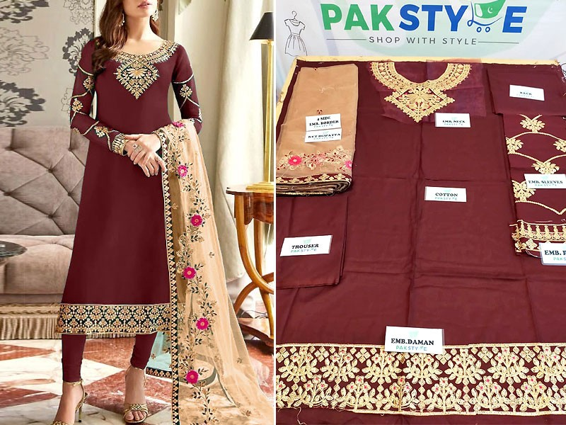 Embroidered Cotton Dress with Embroidered Net Dupatta