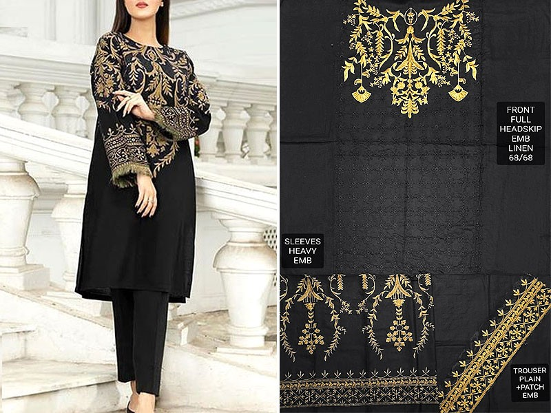 2-Pcs Embroidered Black Linen Dress 2020
