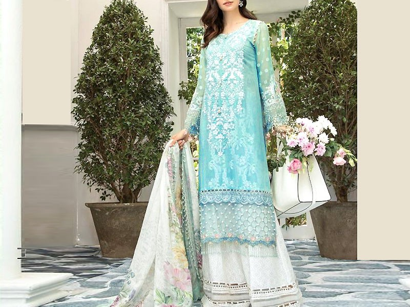 Embroidered Linen Suit with Wool Shawl Dupatta