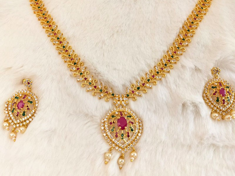 Gold Plated Multicolor AD Stones Jewelry Set for Brides Price in Pakistan  (M013255) - 2020-2021 Prices & Reviews