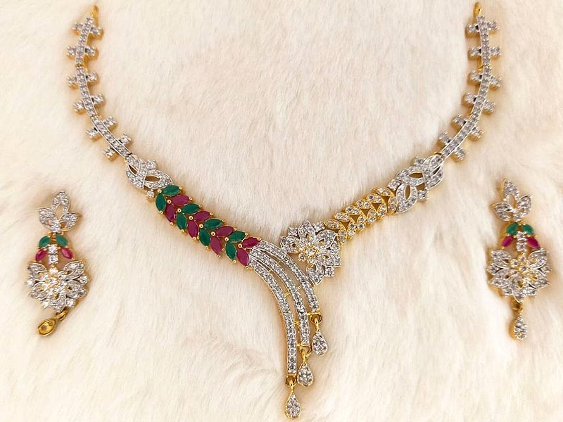 Gold Plated Multicolor Stone Bridal Necklace with Earrings
