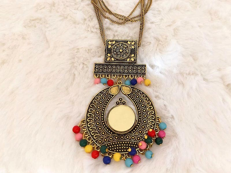 Antique Style Multicolor Beads Fashion Necklace