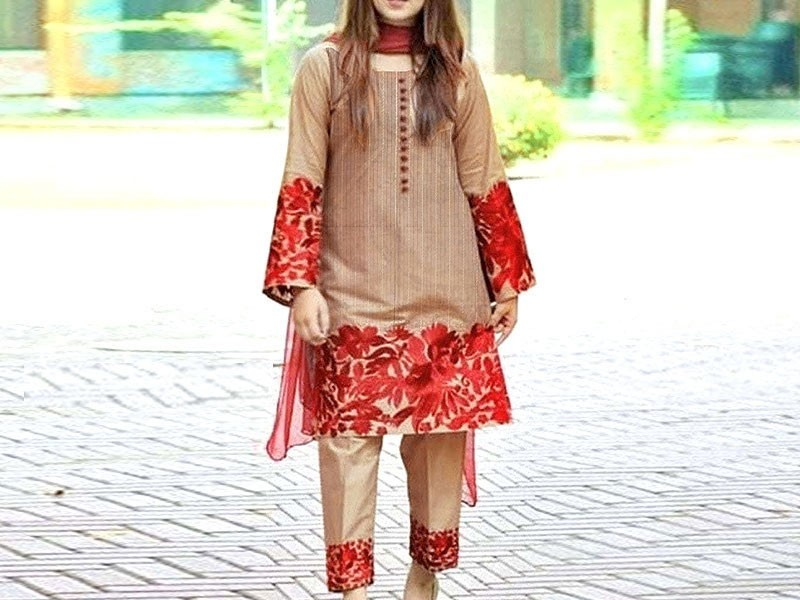 2-Pcs Embroidered Linen Dress 2020
