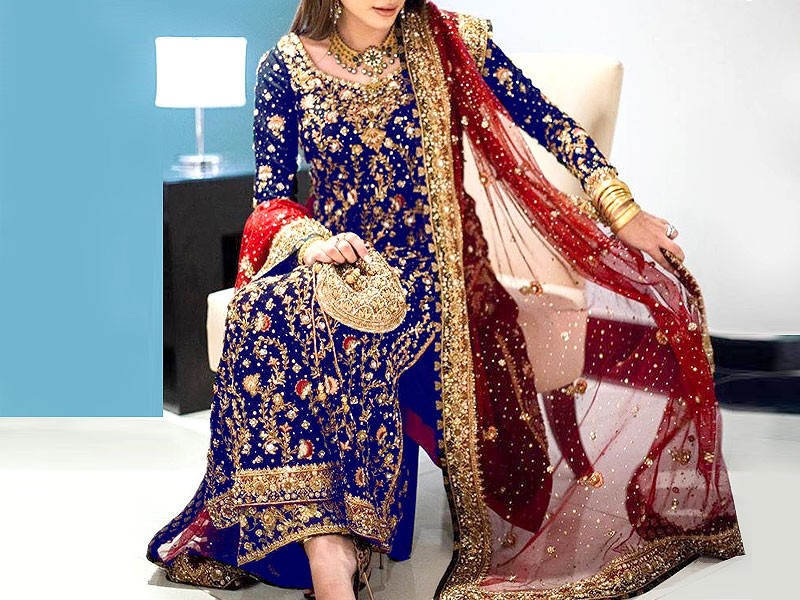 Heavy Embroidered Chiffon Wedding Dress with Net Dupatta