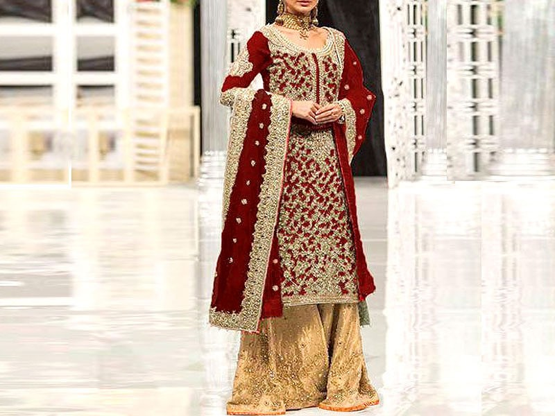 Heavy Handwork Embroidered Net Bridal Dress