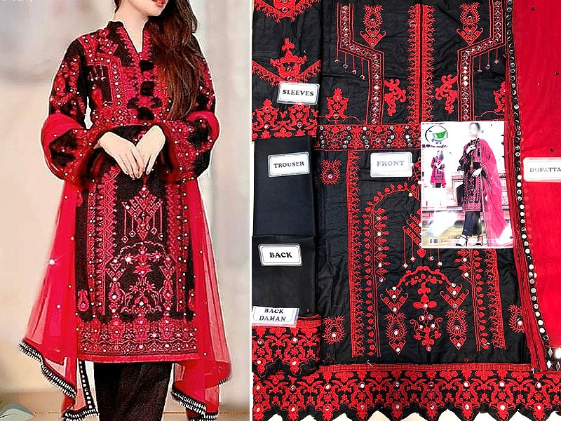 Traditional Mirror Work Embroidered Cotton Dress with Chiffon Dupatta