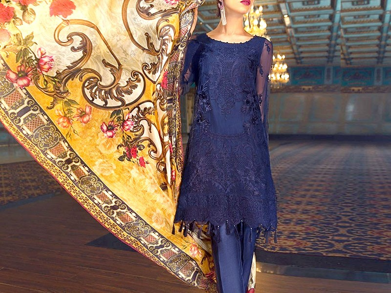 Heavy Embroidered Blue Net Dress with Digital Print Silk Dupatta Price in Pakistan