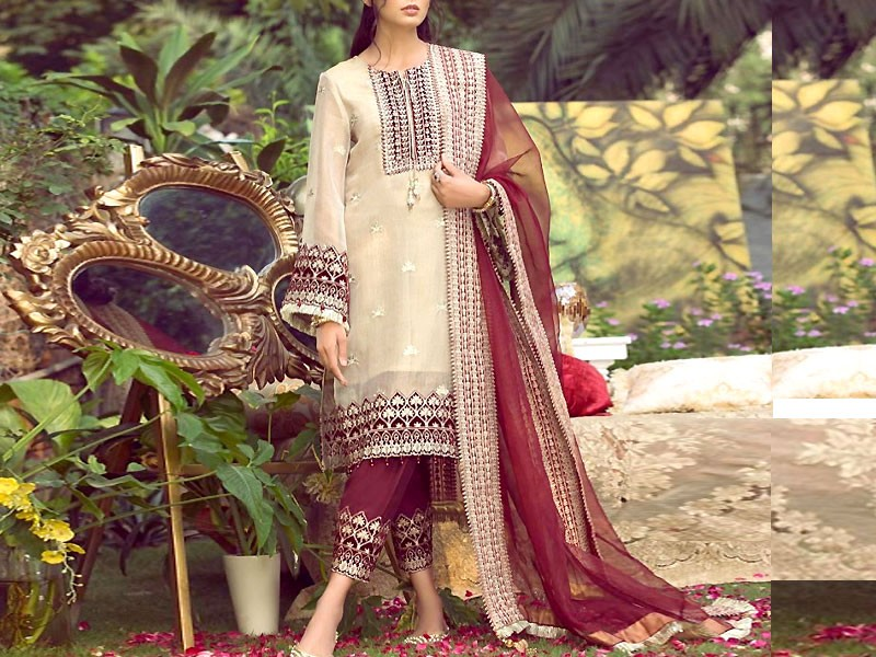 Heavy Embroidered Organza Wedding Dress Price in Pakistan