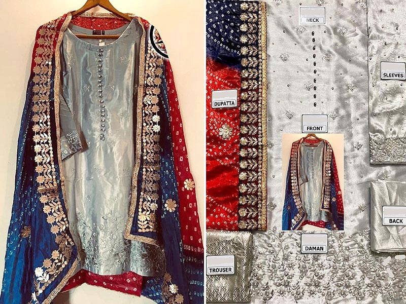 Unstitched Embroidered Organza Dress with Silk Dupatta Price in Pakistan