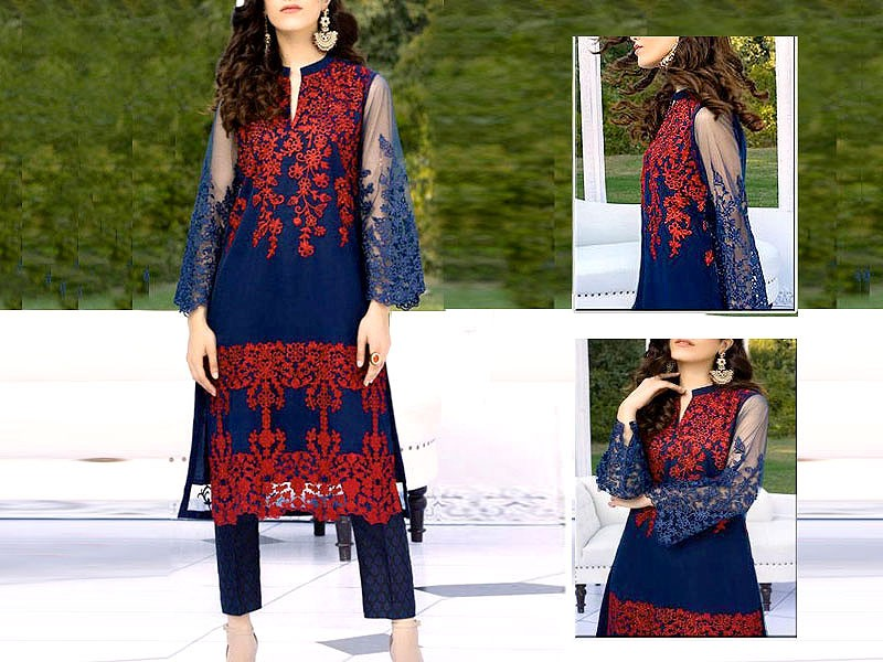 Heavy Embroidered Net Kurti with Inner Price in Pakistan