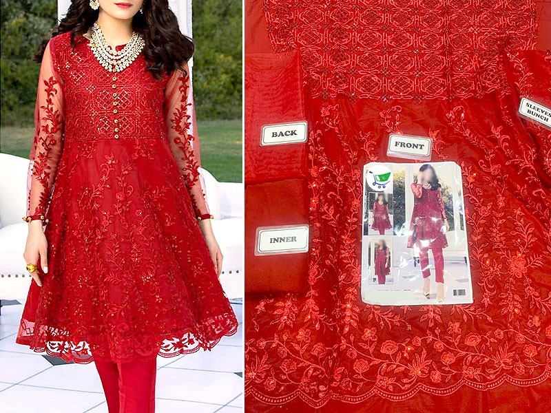 Heavy Embroidered Red Net Kurti with Inner
