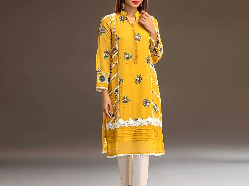 2-Pcs Embroidered Twill Linen Dress 2020 Price in Pakistan