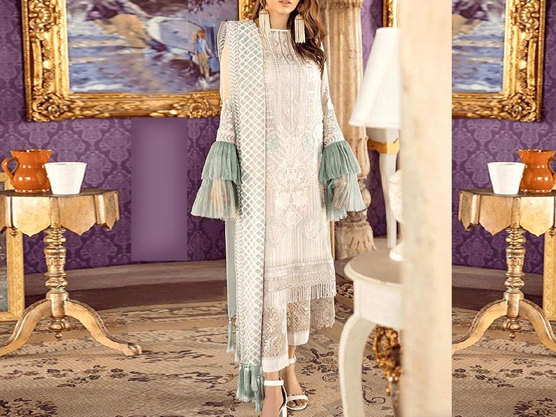 Heavy Embroidered Chiffon Dress with Net Dupatta