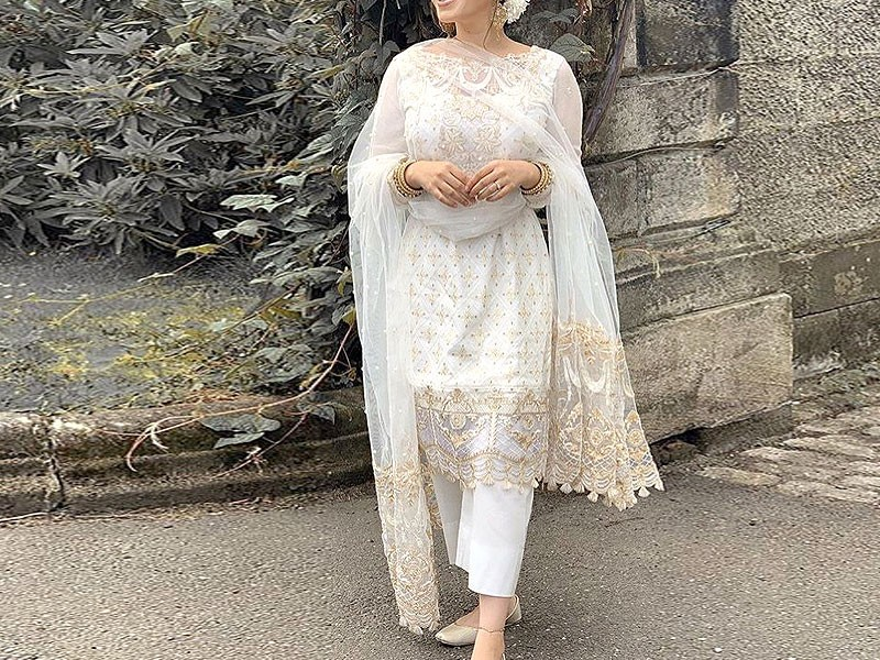 Heavy Embroidered Cotton Dress with Net Dupatta Price in Pakistan