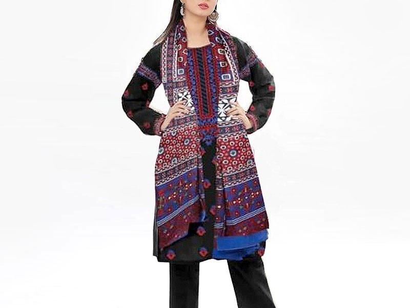 Embroidered Linen Dress with Ajrak Print Wool Shawl Price in Pakistan