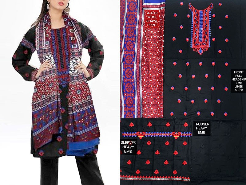 Embroidered Linen Dress with Ajrak Print Wool Shawl