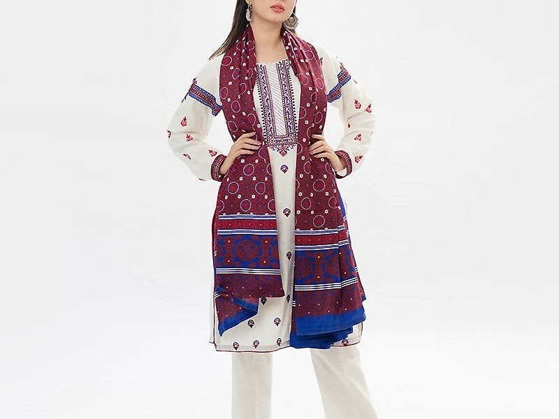 Traditional Embroidered Linen Dress with Ajrak Print Wool Shawl Price in Pakistan