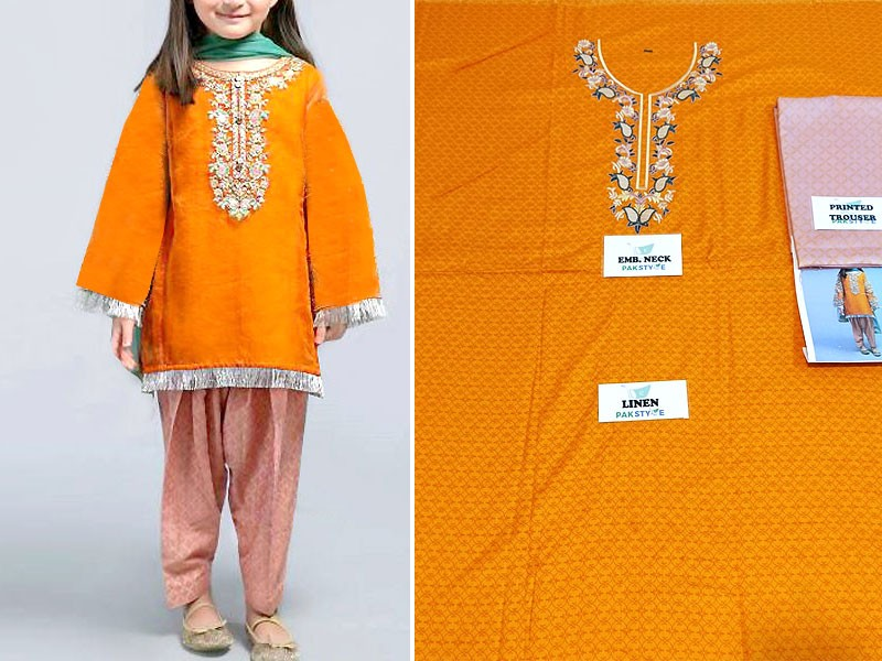 Kids 2-Pcs Embroidered Linen Dress 2020