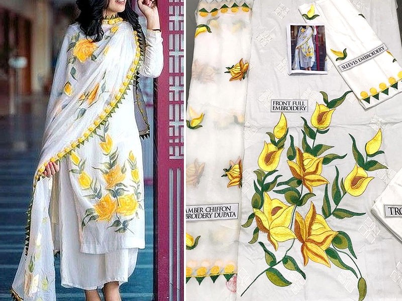Heavy Embroidered Linen Dress with Embroidered Bamber Chiffon Dupatta