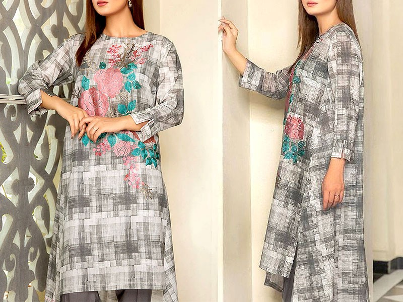 Decent Embroidered Linen Dress with Wool Shawl