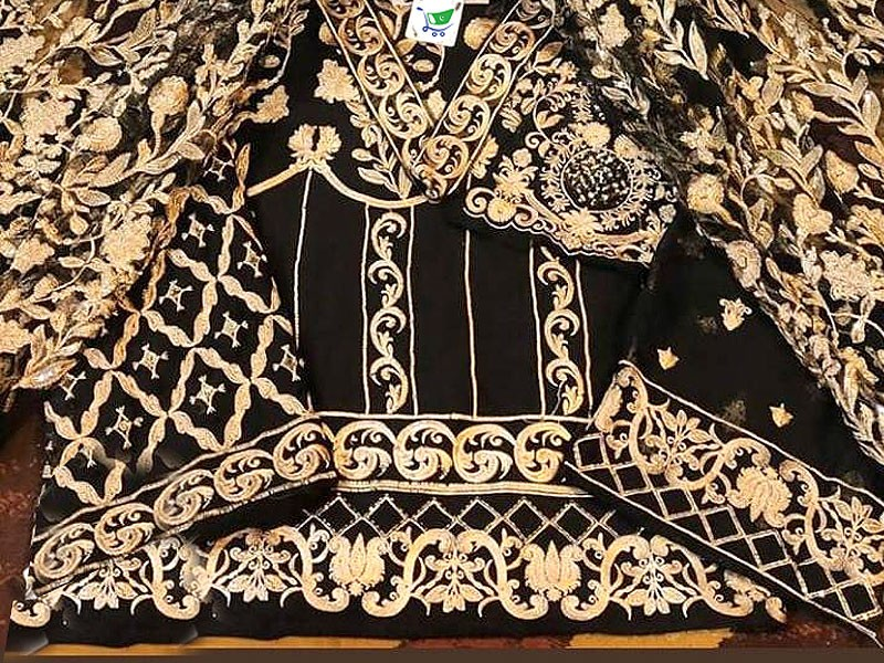 Heavy Embroidered Black Chiffon Dress with Net Dupatta