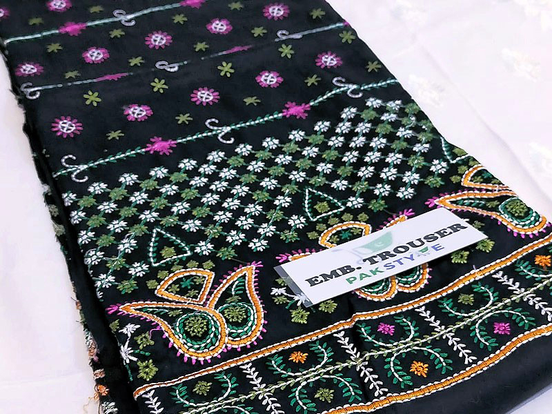 2-Pcs Embroidered Linen Dress with Black Phulkari Style Trouser