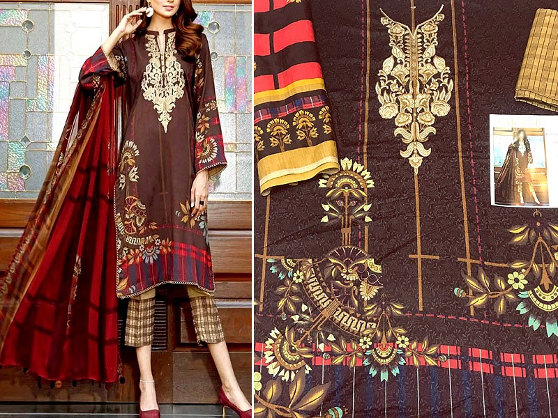 Embroidered Linen Dress with Wool Shawl Dupatta