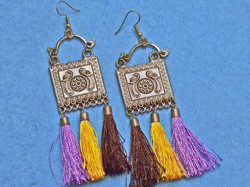 Multicolor Tassels Alloy Antique Silver Jewellery Set